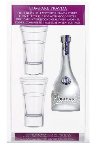 Pravda Vodka Miniatur Set mit Gläser