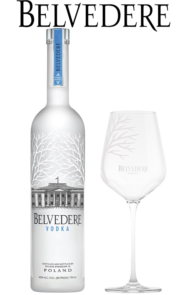 Belvedere 0,7 Liter Vodka & 1 Spritz Glas