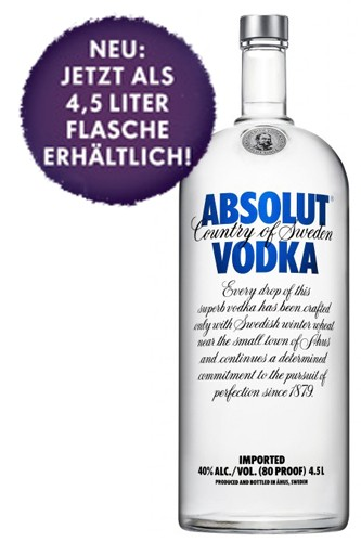 Absolut Blue 4,5 Liter Wodka