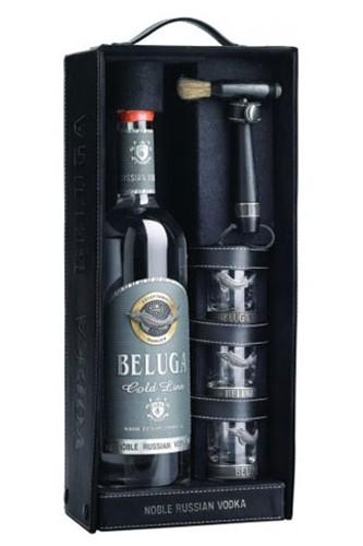 Beluga Gold Line Vodka Geschenkset in Leder
