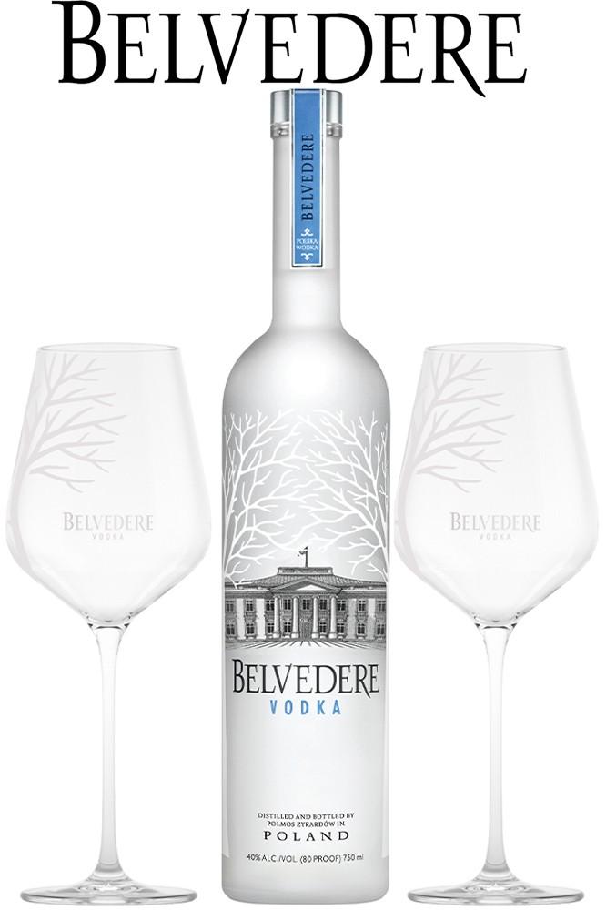 Belvedere 0,7 Liter Vodka & 2 Spritz Gläser